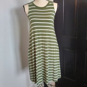TIME AND TRU green/white striped dress S